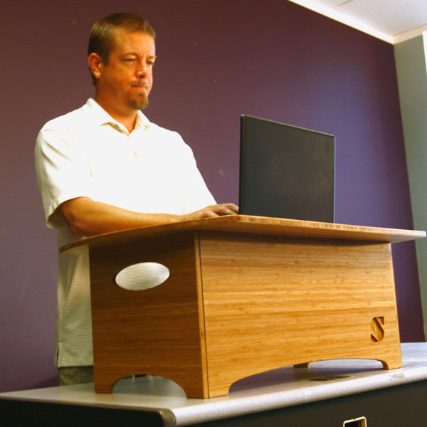The Standee classic Amber Desk in use.