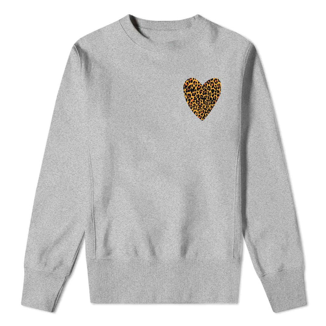 Mini Leopard Heart - Kids Grey Sweatshirt