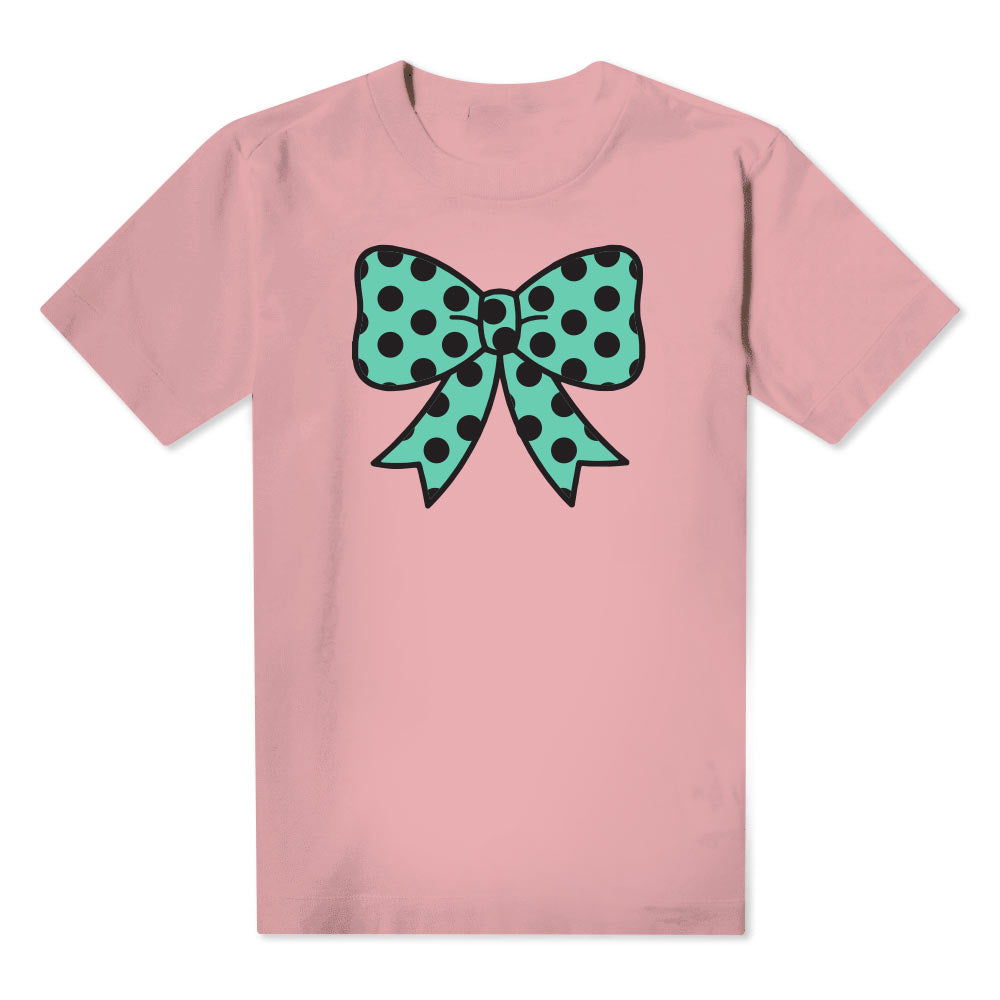 Polka Dot Bow  - Kids Pink Tee