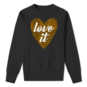 Leopard LOVE IT heart  - kids black sweatshirt