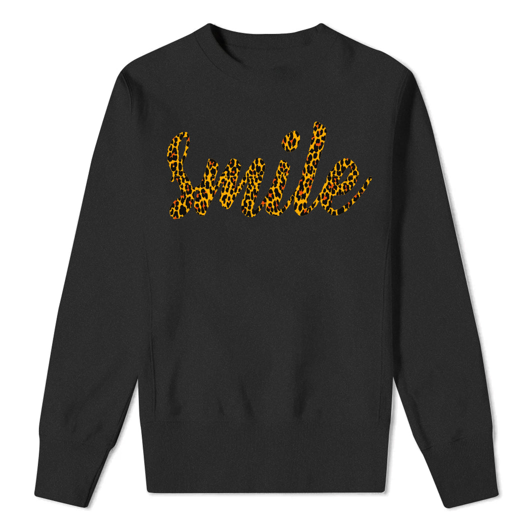Leopard Print SMILE - kids black sweatshirt