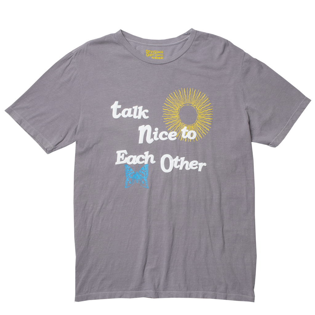 Talk Nice to Each Other puffy ink graphic tee