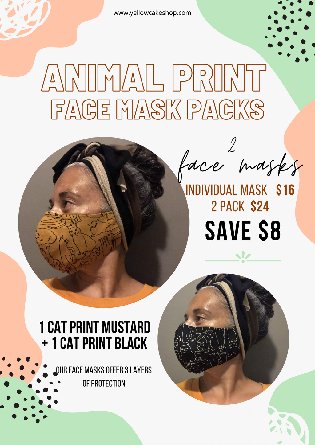 Animal Print Face Mask Pack - Yellowcake Shop