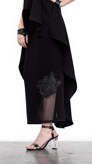 Black Medium to Lightweight Gabardine Maxi Pencil Skirt