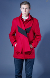 Unisex Red Coat w/ Removable Scarf - Size Small/Medium