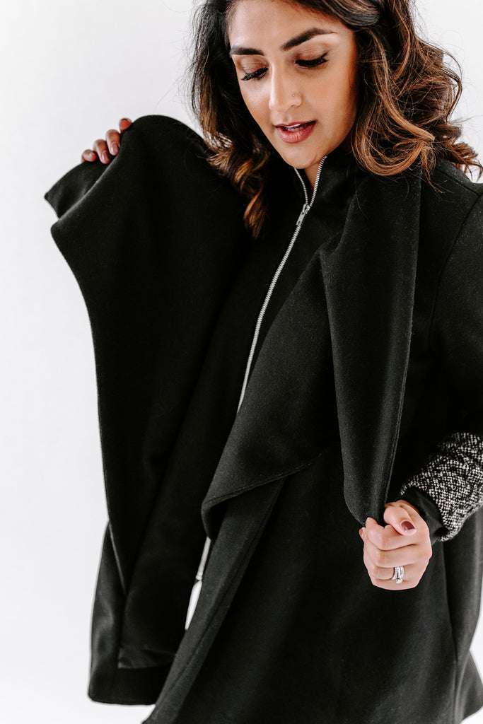 Tri-Fold Coat with Leather Trim