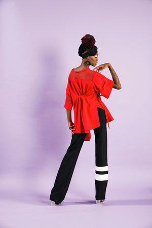 Black flare bottom track pants with stripe detail - Yellowcake Shop