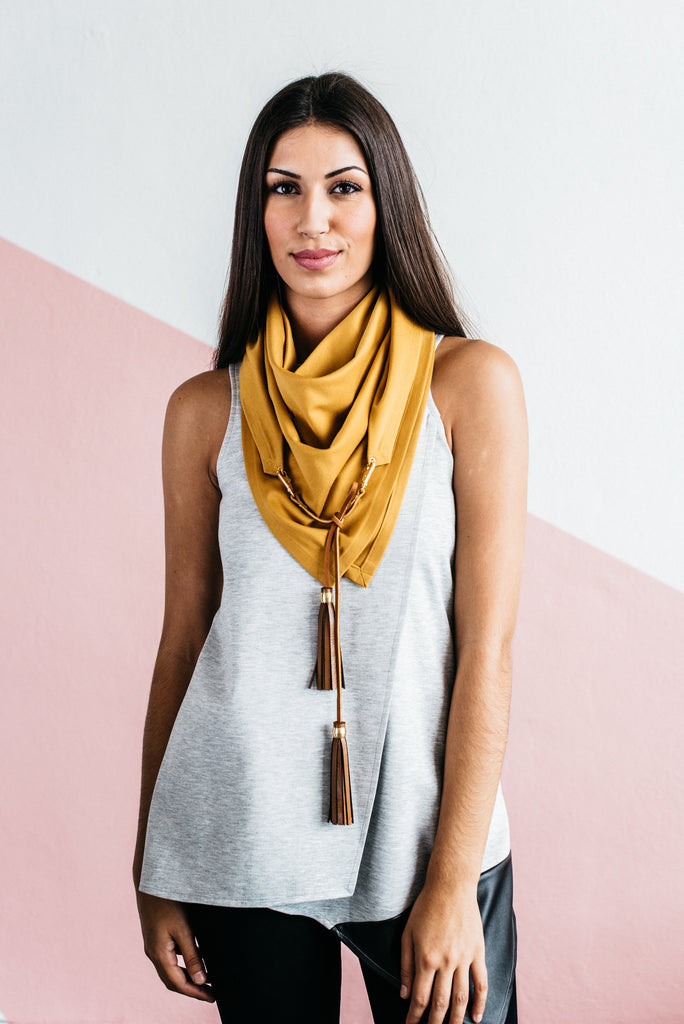 Triangle Scarf - Maroon with Two-Tone Black & Cognac Tassel