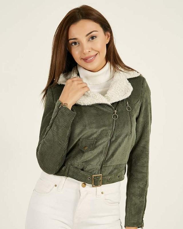 Women's Fur Collar Khaki Velvet...