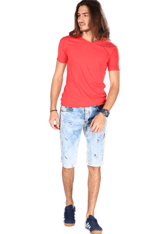 Men's Blue Denim Capri Shorts.
