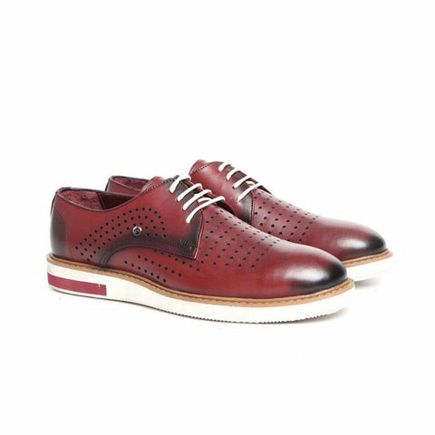 Men's Claret Red Leather Shoes.