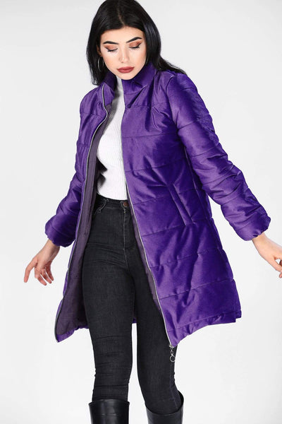 Women's Purple Velvet Long Coat