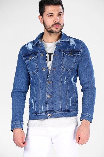 Men's Ripped Blue Denim Jacket