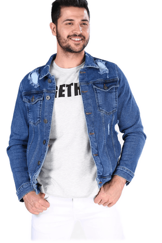 Men's Ripped Blue Denim Jacket - Fashion Under Arrest