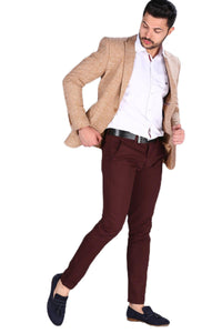 Men's Pocketed Claret Red Trousers