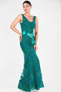 Women's Fish Model Lace Detail Dark Green Evening Dress