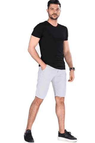 Men's Pocket Light Grey Capri Shorts - Fashion Under Arrest