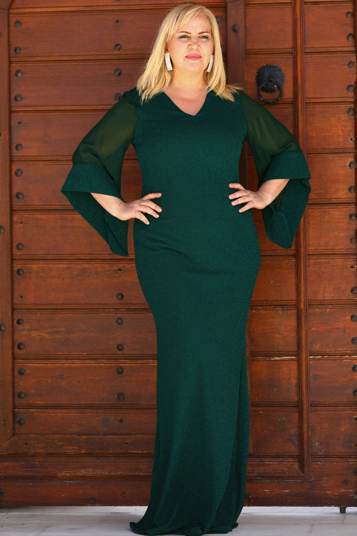 Women's Oversize Shiny Green Evening Dress