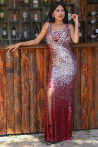 Women's Fish Model Sequin Claret Red Evening Dress