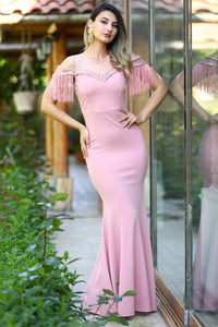 Women's Sequin Fish Model Powder Rose Evening Dress