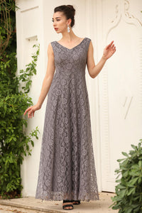 Women's Back Zipper Lace Grey Evening Dress