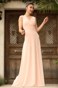 Women's Wrap Powder Rose Chiffon Evening Dress