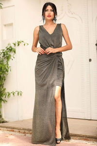 Women's Wrap Anthracite Evening Dress