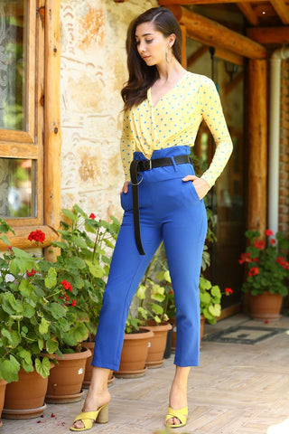 Women's Belted Saxe Trousers.