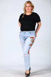 Women's Oversize Embroidered Blue Jeans