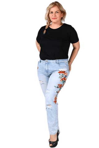 Women's Oversize Embroidered Blue Jeans.