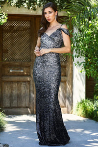 Women's Fish Model Sequined Black Evening Dress