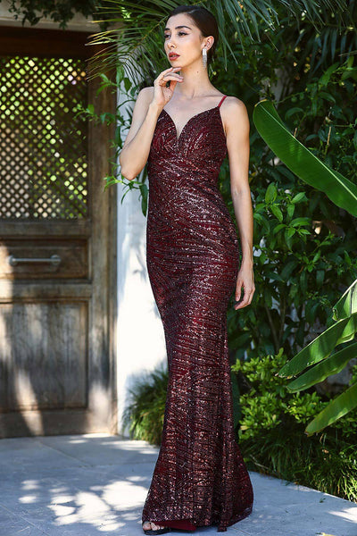 Women's Glitter Claret Red Evening Dress.