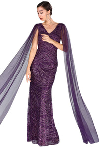 Women's Cape Detail Fish Model Sequin Purple Evening Dress