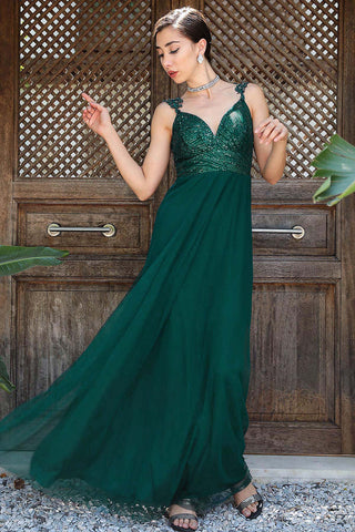 Women's Sequin Top Green Evening Dress