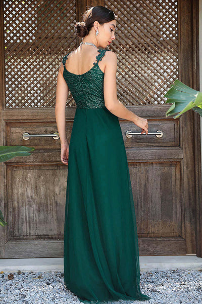 Women's Sequin Top Green Evening Dress - Fashion Under Arrest