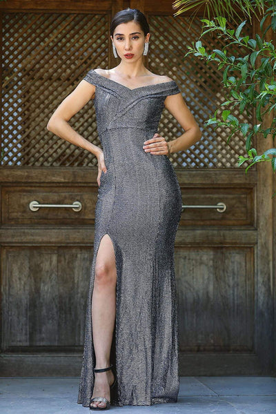 Women's Fish Model Slit Silver Sequin Evening Dress.