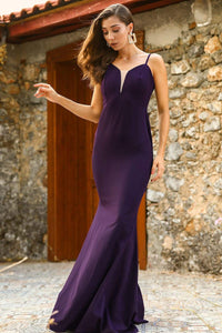 Women's Fish Model Purple Evening Dress