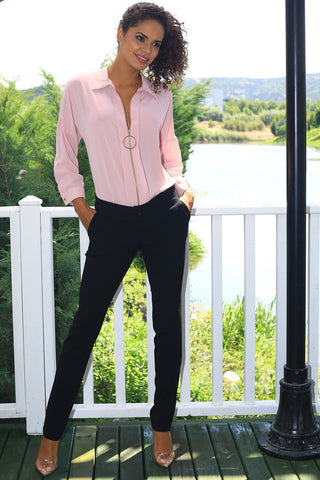 Women's Classic Black Trousers.