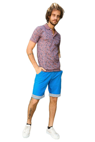 Men's Patterned Hem Turquoise Shorts - Fashion Under Arrest