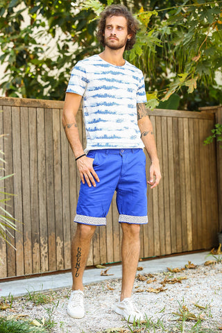 Men's Patterned Hem Saxe Shorts