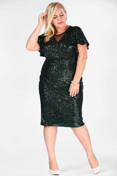 Women's Oversize Sequined Dark Green Evening Dress.