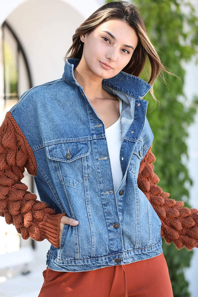 Women's Knit Sleeves Denim Jacket
