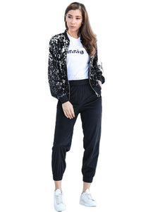 Women's Elastic Legs Black Velvet Sweatpants
