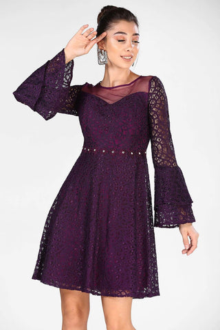Women's Dark Purple Lace Short Evening Dress