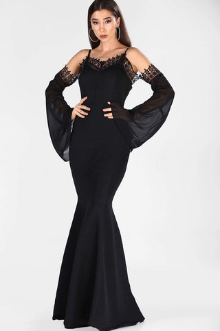 Women's Fish Model Guipure Black Long Evening Dress