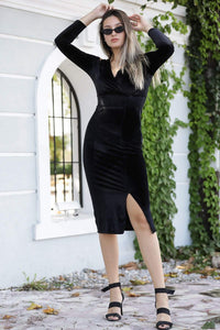 Women's Wrap Collar Black Short Evening Dress