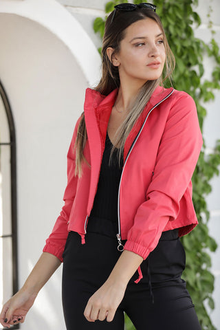Women's Hooded Coral Jacket - Fashion Under Arrest