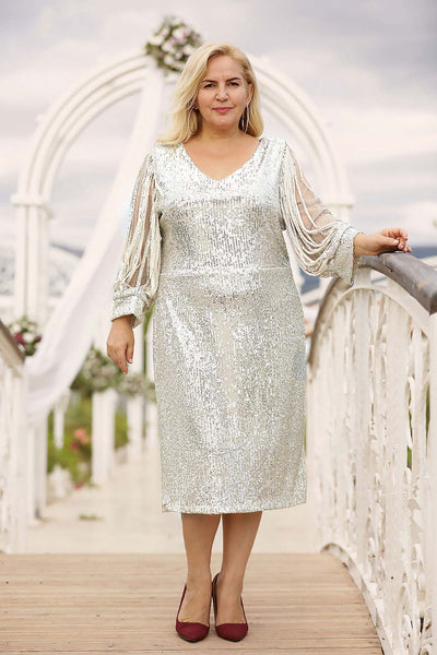 Women's Oversize Sequin Beige Midi Evening Dress.