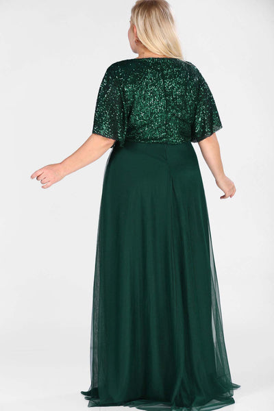 Women's Oversize Sequin Top Green Long Evening Dress.