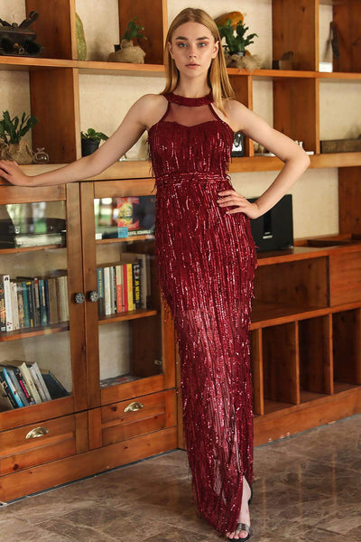 Women's Fish Model Sequin Claret Red Long Evening Dress - Fashion Under Arrest